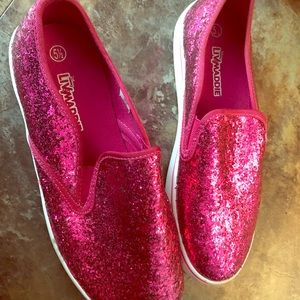 Shoes - Worn once! Sparkly pink size 5 1/2!
